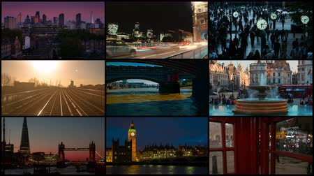 zajímavosti : A 4K London 3x3x3 video wall showing important popular landmarks, including The City, The Shard, Tower Bridge, Big Ben, Canary Wharf, Trafalgar Square and River Thames
