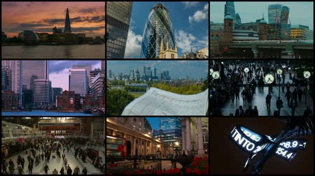 бычий : A 4K London 3x3x3 video wall showing financial landmarks, including The Gherkin, Cheesegrater, Walkie Talkie Building, Canary Wharf and Bank of England