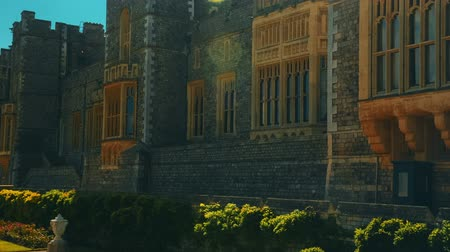 monarchy : An ultra telephoto shot of the medieval Windsor Castle in Berkshire, UK Stock Footage