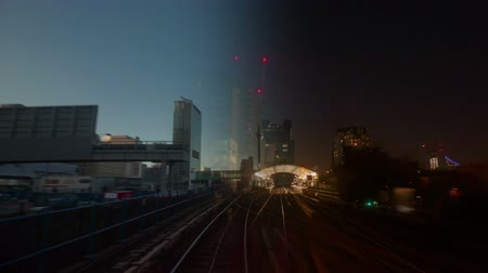 docklands : A 4K London video wall showing multiple exposures of railway transportation