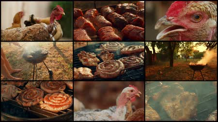 mici : A 4k video wall barbecue (BBQ) themed shot featuring pork, beef, poultry and chicken meat Stock Footage