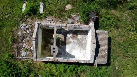roofless : Revealing destroyed old house in the middle of forest, aerial view