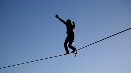 tightrope : Aerialist Falls off Tightrope Stock Footage