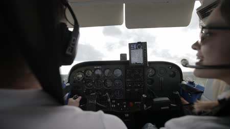pilot in command : Instrument panel in the cabin of the helicopter. Take off in a helicopter or small private jet.