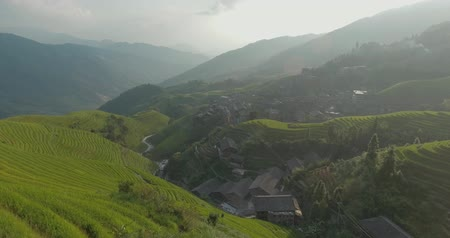 dazhai : Aerial view of beautiful The Longji Rice Terraces located next to the village of Pingan in China. UNESCO World Heritage. Freedom, travel destination, power of nature concept.