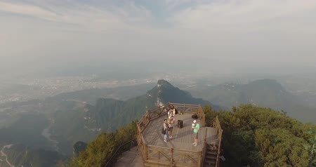outside view : Aerial view of majestic peaks and Tianmen cave of Tianmen mountain national park, Hunan province, China Stock Footage