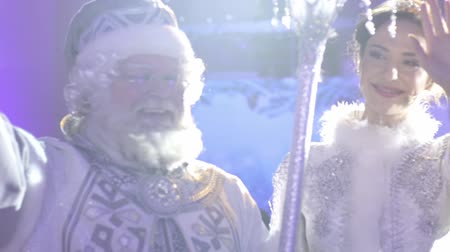 ded : Moscow, Russia - December 21, 2016: Father Frost (Ded Moroz) and Snegurochka (Snow Maiden) waving at the crowd at Stock Footage