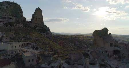 travertino : Famous destination and travel concept,amazing aerial landscape.The town of Goreme in Cappadocia, Turkey.
