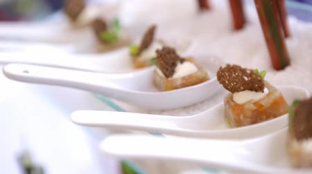 буфет : Catering for party. Close up of appetizers at corporate event on white plates.