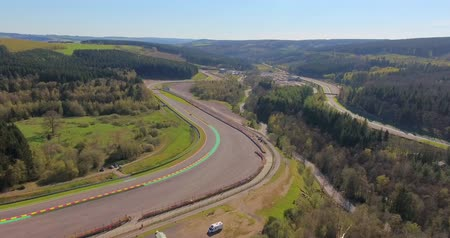 canto : Stavelot, Belgium - June 10, 2018: Aerial view of Spa-Francorchamps Circuit, motor-racing circuit is the venue of the Formula One Belgian Grand Prix, and of the Spa 24 Hours