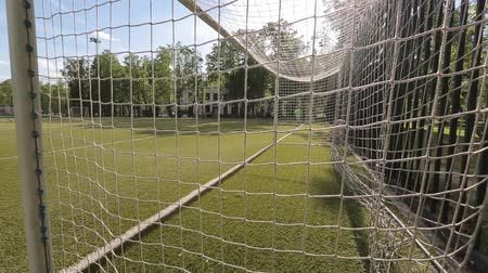 goleiro : Moscow, Russia - June 25, 2018 : Unidentified male goalkeeper standing behind the net of the gate in a public park Stock Footage