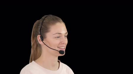 телефон доверия : Beautiful call center operator with headset talking, Alpha Channel