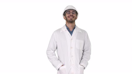 отношение : Happy engineer walking Great result on white background.