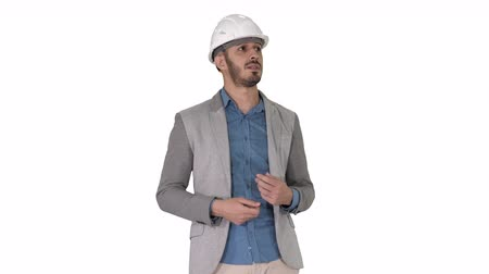 прораб : Architect talking to camera on white background.