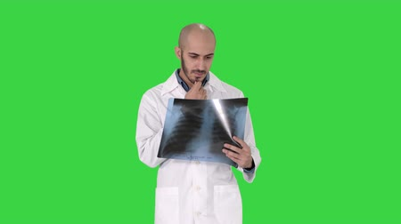 computed : Doctor radiologist looking at x-ray scan walking on a Green Screen, Chroma Key. Stock Footage