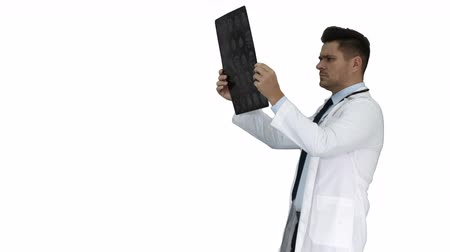 vizsgálat : Healthcare personnel in white labcoat, looking at x-ray radiographic image, ct scan, mri while walking on white background. Stock mozgókép
