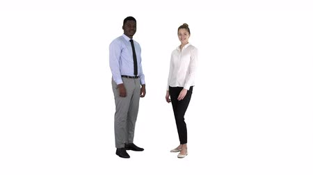 african decent : International happy smiling man and woman showing thumbs up on white background.