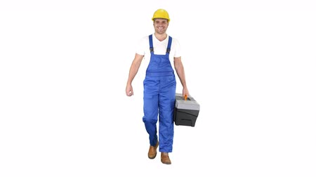 toolbox : Builder with tool case walking on white background. Stock Footage