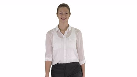segregatory : Happy Cheerful Young Businesswoman Walking on white background.
