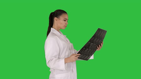 латина : Intellectual woman healthcare personnel with white labcoat, looking at x-ray radiographic image, ct scan, mri on a Green Screen, Chroma Key.