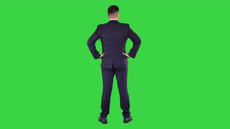 parecer : Businessman looking around with hands on hips on a Green Screen, Chroma Key.