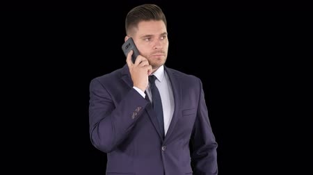 alpha cell : Serious worried businessman trying to call someone and cant get through Call failed, Alpha Channel