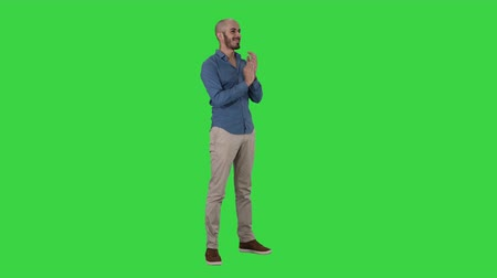 approving : Handsom arab clapping his hands applauding on a Green Screen, Chroma Key. Stock Footage