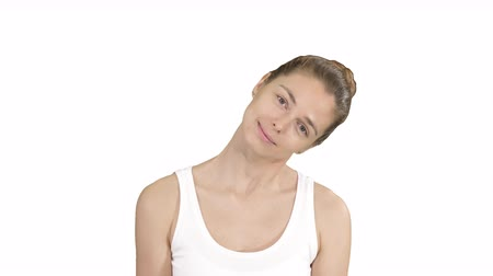 excesso de trabalho : Smiling Woman Relaxing Her Neck Muscles Doing Stretching Exercise on white background.