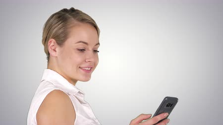 alpha cell : Young beautiful woman writes an SMS, Alpha Channel