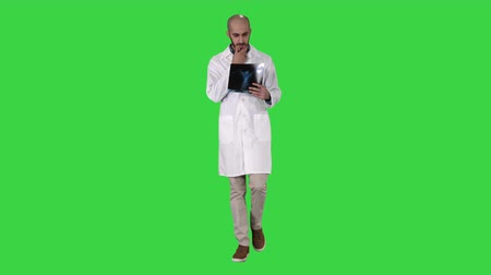 dech : Doctor examining a lung radiography while walking on a Green Screen, Chroma Key.