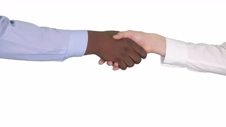integração : Handshake of Afro American and caucasian female hands on white background.