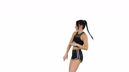рэп : RnB girl in shorts walking dancing on white background.