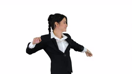humor : Businesswoman Dancing on white background.