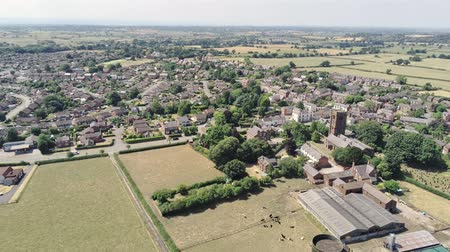 cow flies : Aerial static view on Tarvin in UK. Small old town in Europe