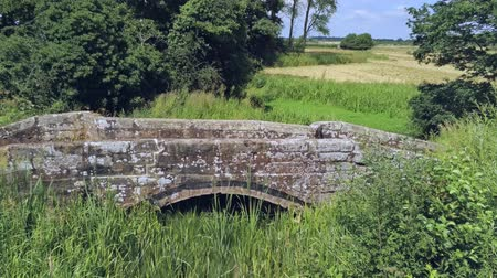 rural area : Aerial view, forward move. Fly over old small sandstone roman bridge and reed in english countryside.