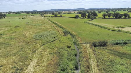 chester : Aerial view, fly up and pan move. Drone panorama of plains and green grass fields with small water stream. Stock Footage
