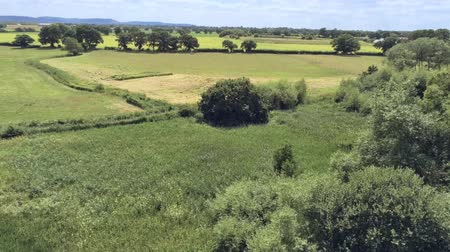 chester : Aerial view, up move. Drone rise panorama of plain and fields in Cheshire. Stock Footage