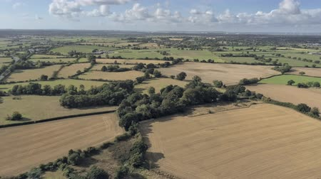 yüksek ova : Aerial view, panning move. Half panorama of Cheshire fields with Merseyside in background