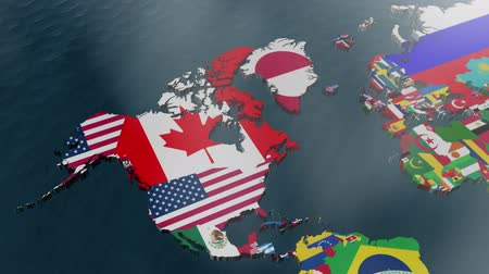 north america : USA 3D Wide Flag World Map Zoom with Clouds