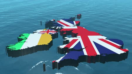 egyesült : 3D HD United Kingdom Map Rotating on the Sea