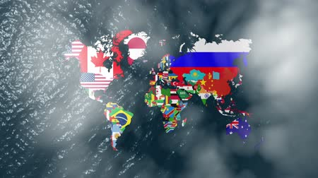 north america : 3D Wide World With Flags on Sea Slow Zoom with Clouds