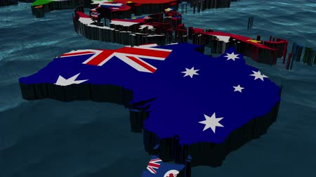 ausztrál : Australia 3D Flag World Slow Zoom with Clouds