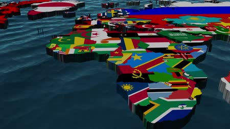 Пакистан : CU Pan of the whole World with flags as countries