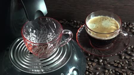 black coffee : Preparation of fresh coffee in a coffee maker