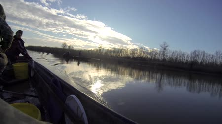 zander :  Two man fishing from a boat Stock Footage