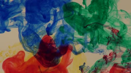 akvarell : Blue, green, yellow and red ink in water abstract background effect