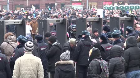 searches : Moscow, Russia - March 1, 2015. Police searches of members of the opposition March. March to the memory of Boris Nemtsov, Russian opposition leader who was assassinated