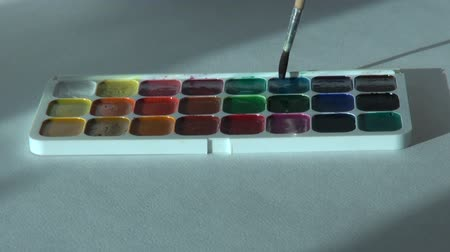 paintbox : blue color. Artist works with brush and watercolor paints Stock Footage