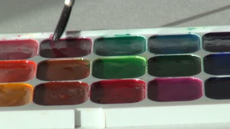 paintbox : red scarlet ruddy color. close up. Artist works with brush and w