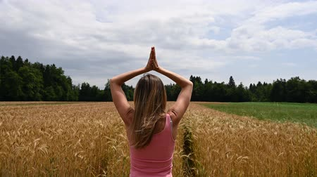 csatlakozott : View from behind of a young woman enjoying in nature surrounded with fields making movement with her arms to join them together on her chest.